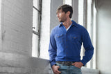 Ryan Michael Men's Textured Silk Shirt - Cobalt