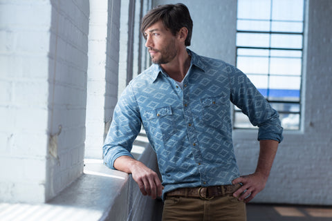 Ryan Michael Men's Aztec Indigo Shirt - SALE