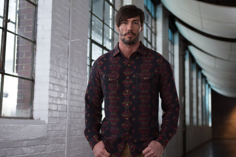 Ryan Michael Men's Sunburst Jacquard Shirt - SALE
