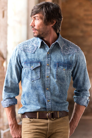 Ryan Michael Men's Embroidered Indigo Shirt - SALE