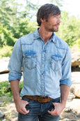 Ryan Michael Men's Sun Washed Indigo Shirt
