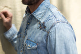 Ryan Michael Men's Sun Washed Embroidered Denim Shirt