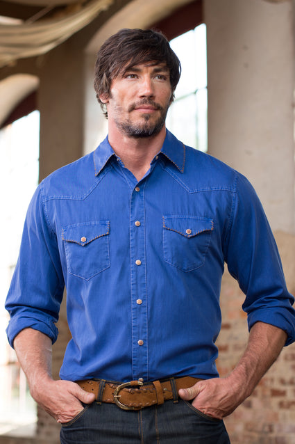 Ryan Michael Men's Whip Stitch Gaberdine Shirt - BlueCorn