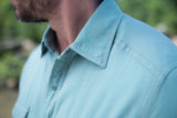 Ryan Michael Men's Chevron Print Shirt - Seafoam
