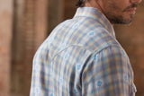 Ryan Michael Men's Ombre Dobby Plaid Shirt - BlueCorn