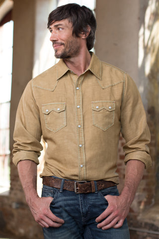 Ryan Michael Men's Saw Tooth Silk Linen Shirt - White Oak - SALE