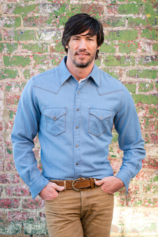 Ryan Michael Men's Redfish Textured Shirt - Denim - SALE