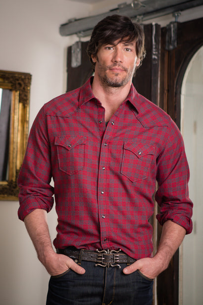 Ryan Michael Men's Red Mountain Plaid Shirt