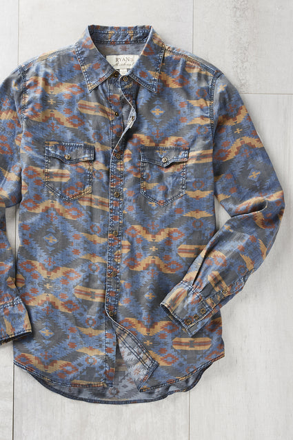 Ryan Michael Men's Granite Peak Indigo Print Shirt