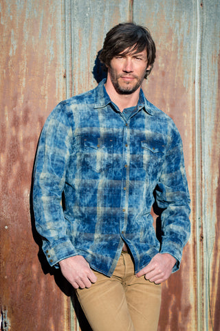 Ryan Michael Men's Midnight Sky Corduroy Plaid Shirt-SALE