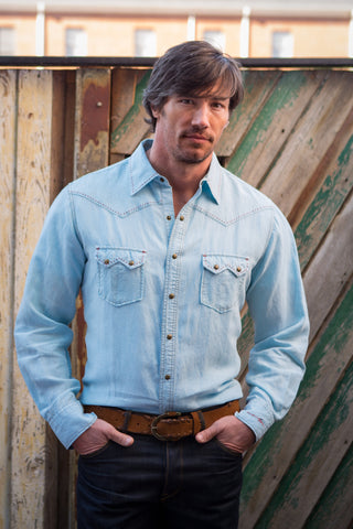 Ryan Michael Men's Saddleback Pick Stitch Shirt - Sky