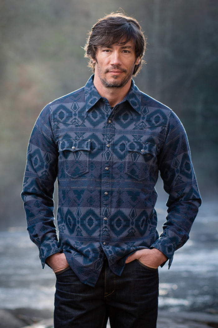 Ryan Michael Men's Glacier Point Blanket Jacquard Shirt - SALE