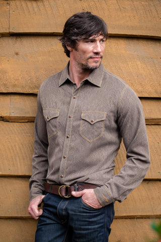 Ryan Michael Men's High Alpine Jacquard Shirt - Espresso - SALE