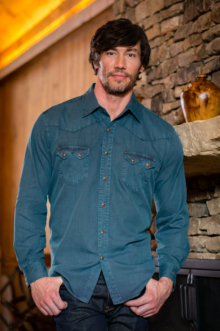 Ryan Michael Men's Saw Tooth Western Shirt - Spruce - SALE
