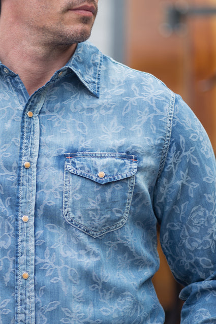 Ryan Michael Men's Floral Indigo Jacquard Shirt