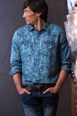 Ryan Michael Men's Paradise Indigo Paisley Shirt