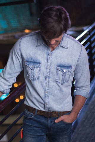 Ryan Michael Men's Blue Diamond Indigo Shirt