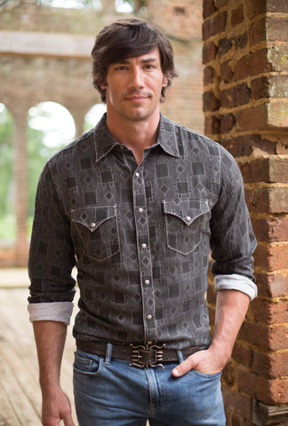 Ryan Michael Men's Valero Tile Jacquard Shirt - Brisket