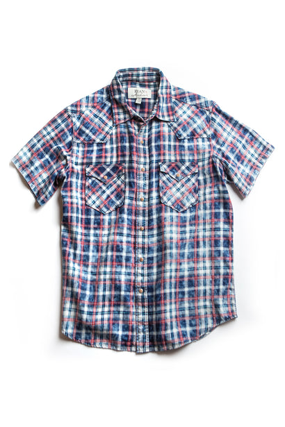 Ryan Michael Men's Red Stripe Plaid Short Sleeve Shirt