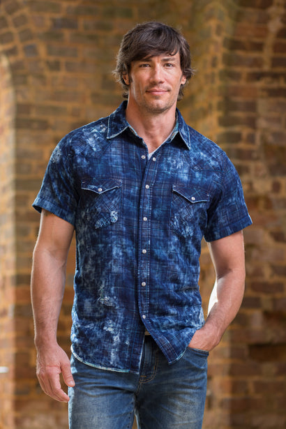 7c1b1c3874ad ... Ryan Michael Men s Lake Mead Distressed Plaid Short Sleeve