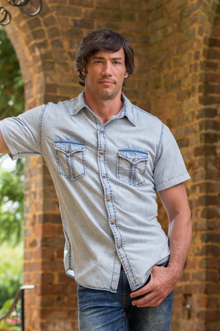 Ryan Michael Men's Acid Washed Split Rail Short Sleeve
