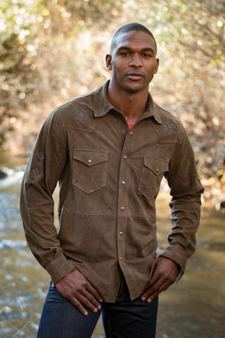 Ryan Michael Men's Thunderbird Mountain Leather Shirt