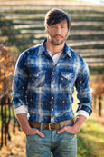 Ryan Michael Men's Oakville Indigo Plaid Shirt