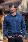 Ryan Michael Men's Fossil Mountain Denim Shirt