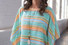Ryan Michael Women's Serape Stripe Poncho - Seafoam - SALE