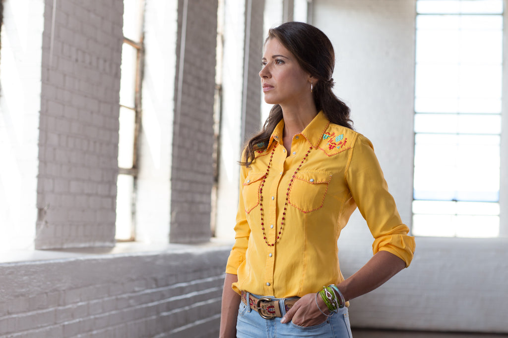 Ryan Michael Women's Whip Stitch Embroidered Shirt - Goldenrod - SALE