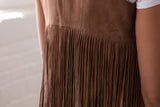 Ryan Michael Women's Leather Fringe Vest - Tan - SALE