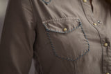 Ryan Michael Women's Western Shirt - Taupe - SALE