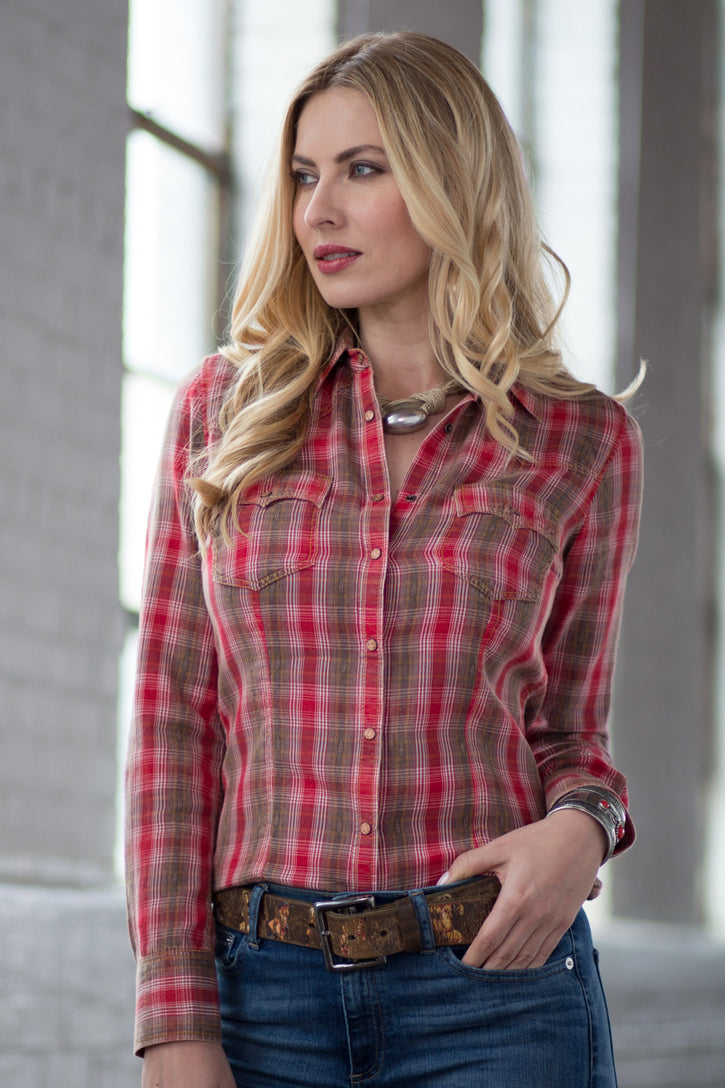 Ryan Michael Women's Ombre Plaid Shirt