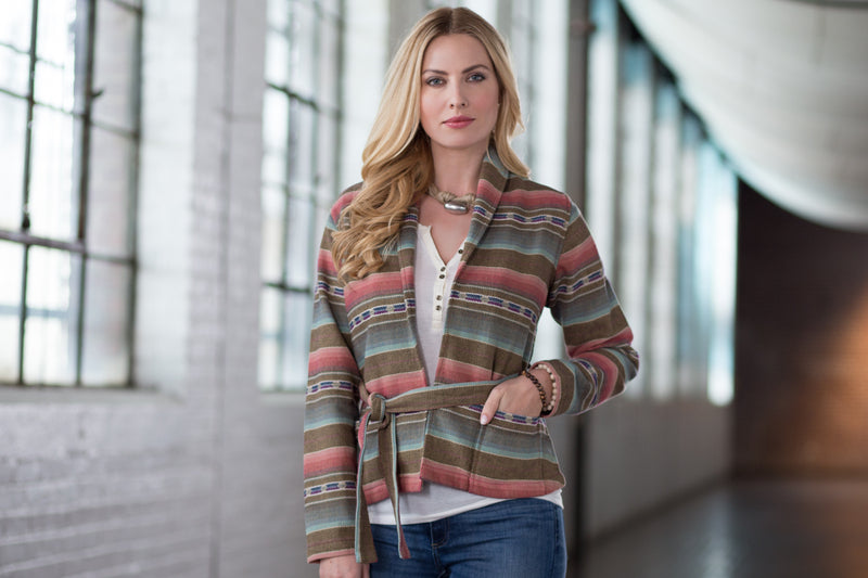 Ryan Michael Women's Striped Jacquard Jacket - SALE
