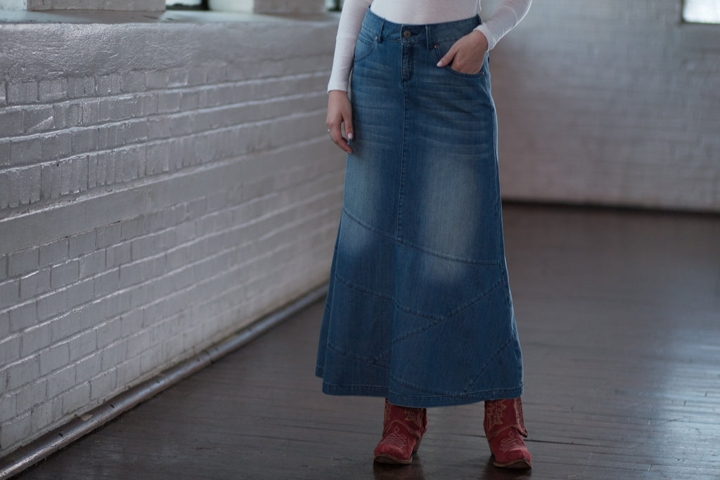 Ryan Michael Women's Long Denim Skirt