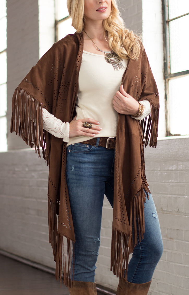 Ryan Michael Women's Leather Perforated Poncho