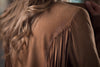 Ryan Michael Women's Drape Fringe Leather Jacket