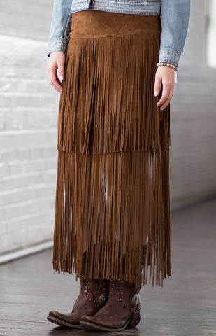 Ryan Michael Women's Leather Fringe Skirt