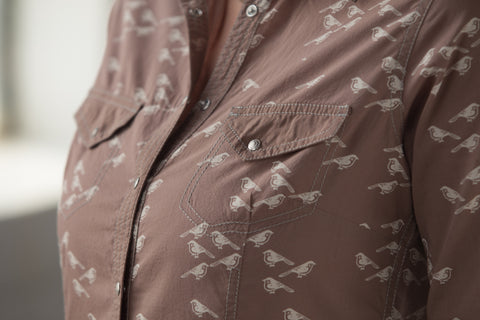 Ryan Michael Women's Ditsy Bird Print Shirt - SALE