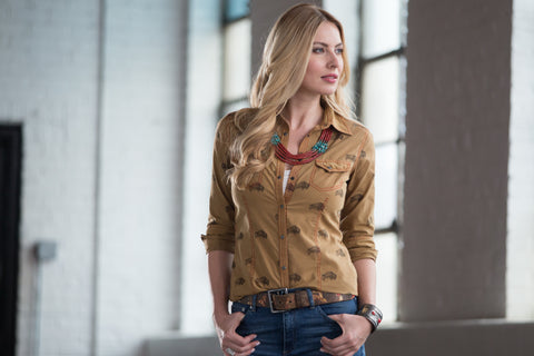Ryan Michael Women's Buffalo Print Shirt - SALE