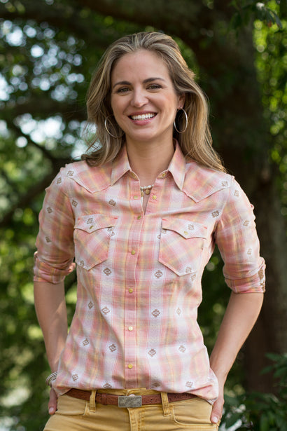 Ryan Michael Women's Canyon Springs Ombre Plaid Shirt