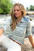 Ryan Michael Women's Beach Blanket Indigo Stripe Shirt