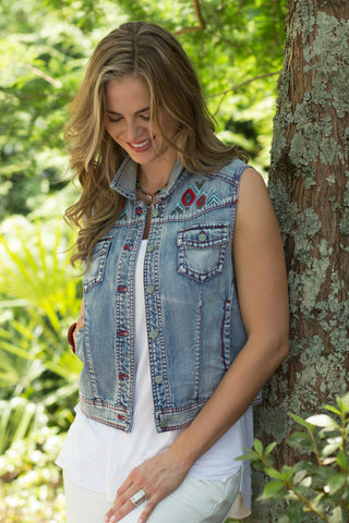 Ryan Michael Women's Embroidered Denim Vest - SALE