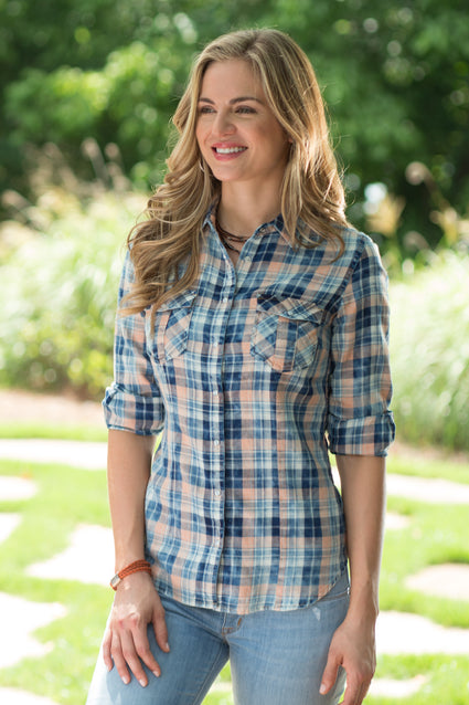 Ryan Michael Women's Cloud Wash Plaid Shirt