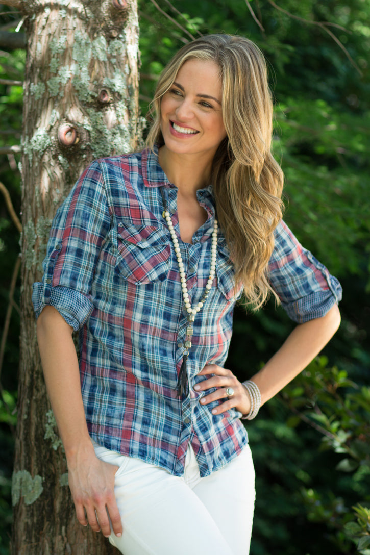 Ryan Michael Women's Split Back Plaid Shirt - SALE
