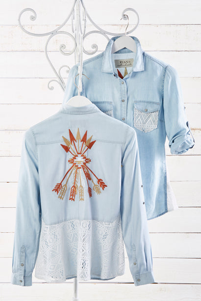 Ryan Michael Women's Arrows and Lace Embroidered Shirt