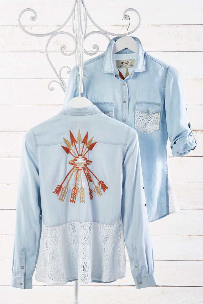 Ryan Michael Women's Arrows and Lace Embroidered Shirt - SALE
