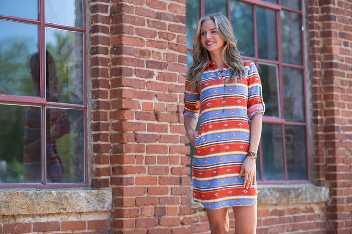 Ryan Michael Serape Stripe Dress