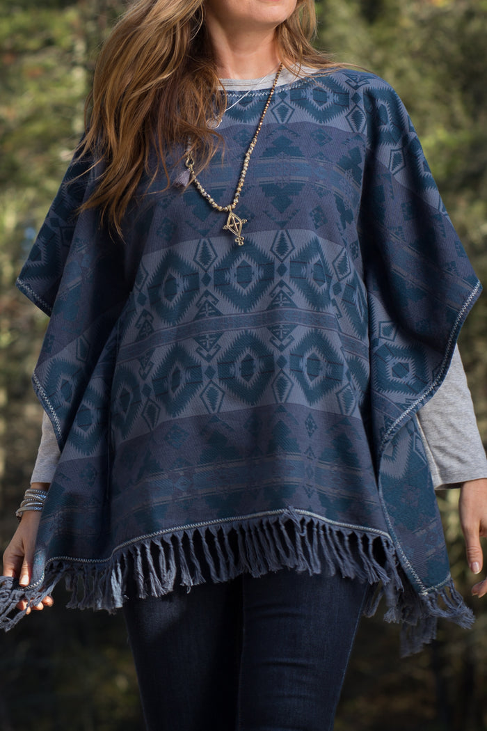 Ryan Michael Women's Blanket Jacquard Poncho - SALE