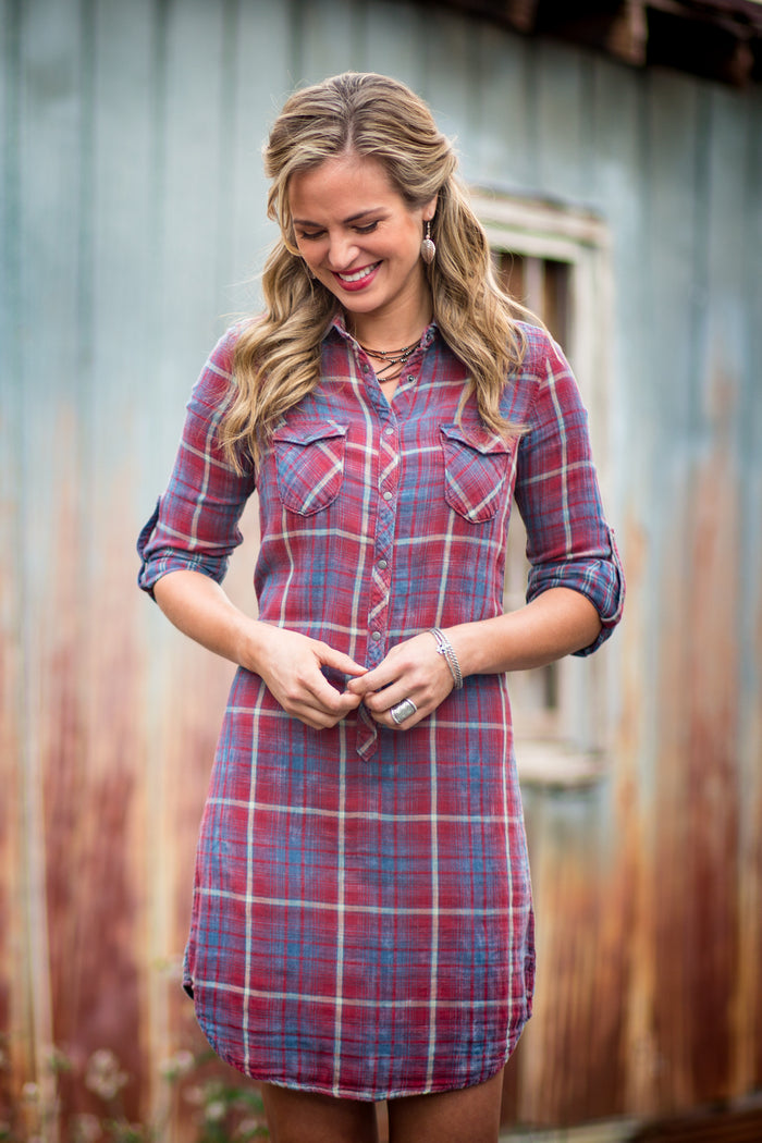 Ryan Michael Women's Double Face Plaid Dress - SALE